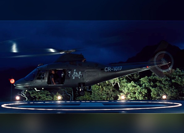 The Jurassic World Helipad features LightMart LED Lights and Poles