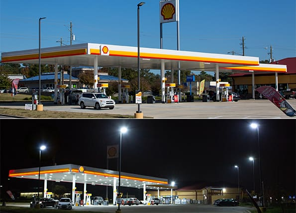 Outdoor Parking Lot Lighting for Shell Provided by LightMart