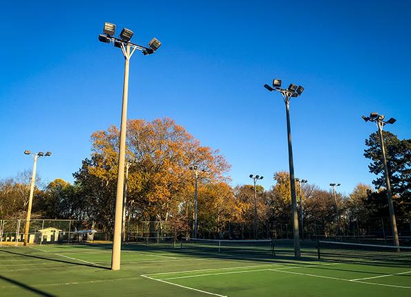 LightMart Metal Halide Flood Lights at a Tennis Complex