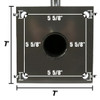 Wall Mounting Bracket 555831 Back Dimensions