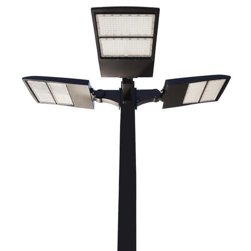 LED Pole Kit with Three 200 Watt LED Lights, 15-30 Foot Pole Height Options-Thumbnail