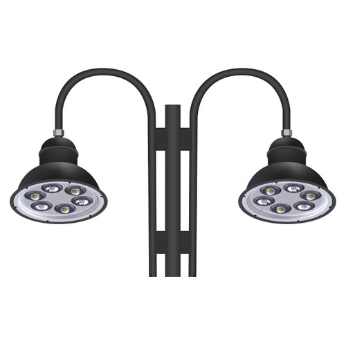 Highly versatile 126 Watt 22 inch diameter architectural grade gooseneck LED light fixtures on double arm feature a full cutoff making it dark sky friendly.