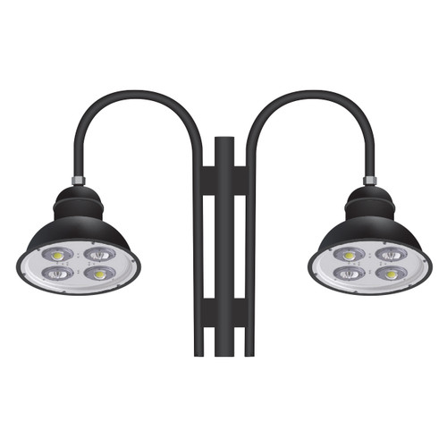 Two 82 Watt 18 Inch Architectural Gooseneck LED Light Fixtures on Double Arm-PTDS82D-Thumbnail