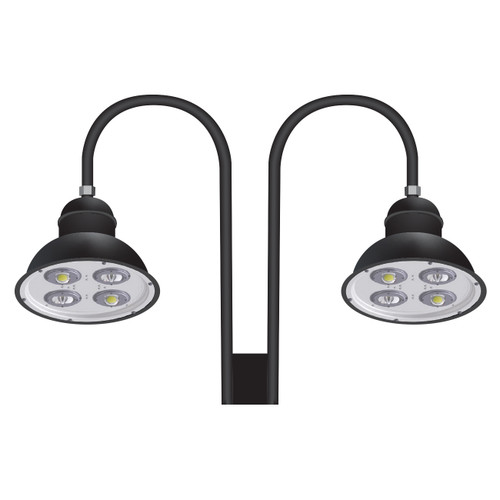 Two 58 Watt 18 Inch Architectural Gooseneck LED Light Fixtures on Double Arm-PTDS58D-Thumbnail