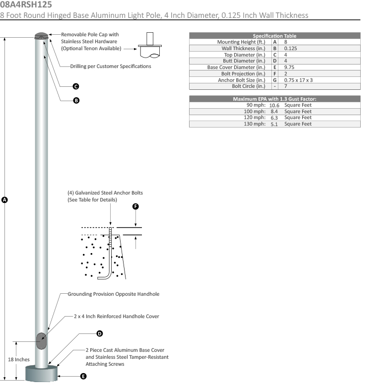 8 Foot Round Hinged Base Aluminum Light Pole, 4 Inch Diameter, 0.125 Inch Wall Thickness Dimensional Drawing