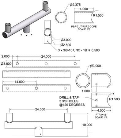 Bullhorn Bracket 10048 Dimensional Drawing
