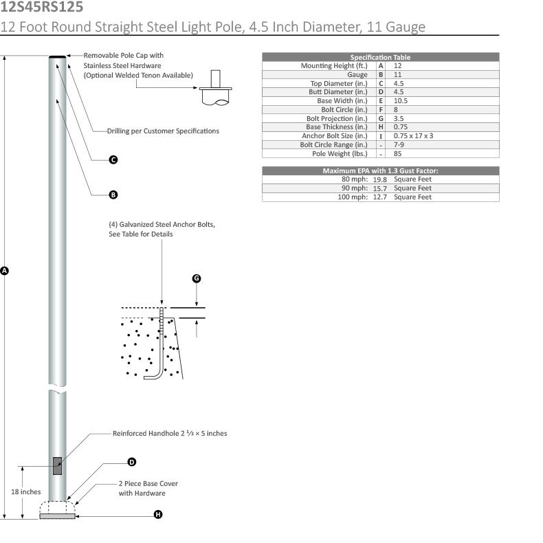 12 Foot Round Straight Steel Light Pole, 4.5 Inch Diameter, 11 Gauge Dimensional Drawing
