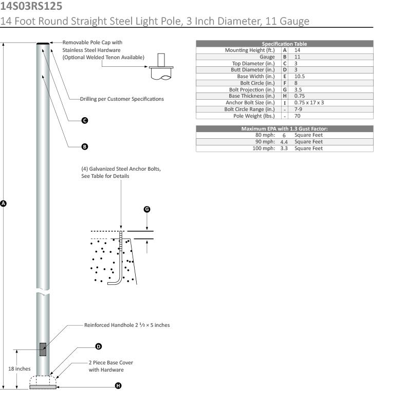 14 Foot Round Straight Steel Light Pole, 3 Inch Diameter, 11 Gauge Dimensional Drawing
