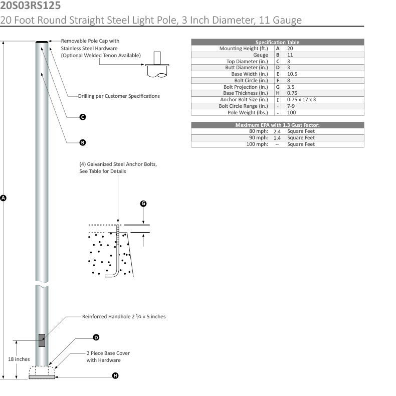 20 Foot Round Straight Steel Light Pole, 3 Inch Diameter, 11 Gauge Dimensional Drawing