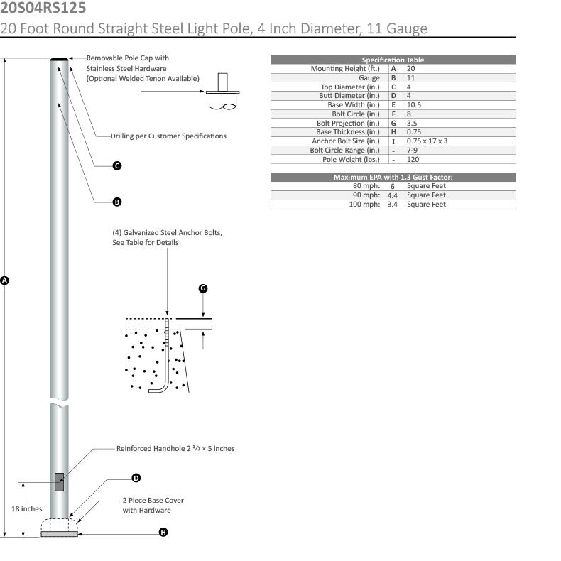 20 Foot Round Straight Steel Light Pole, 4 Inch Diameter, 11 Gauge Dimensional Drawing