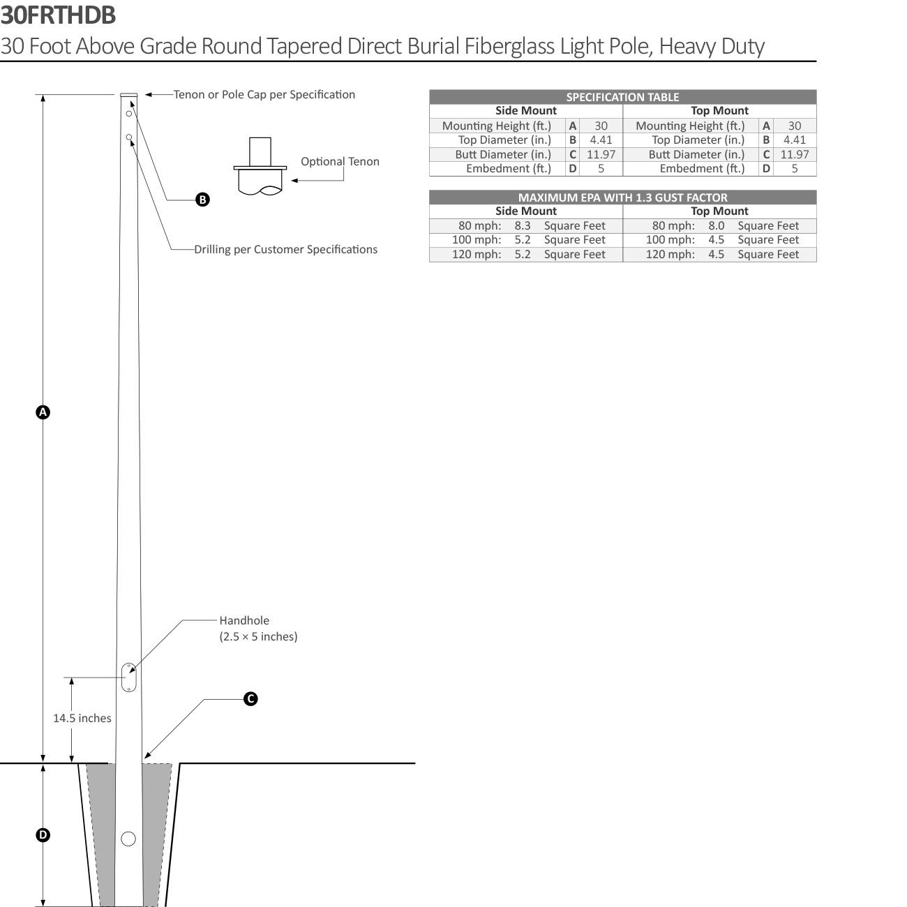 Round Tapered Direct Burial Fiberglass Light Pole 30 Ft Direct Burial Fiberglass Light Pole Lightmart Com