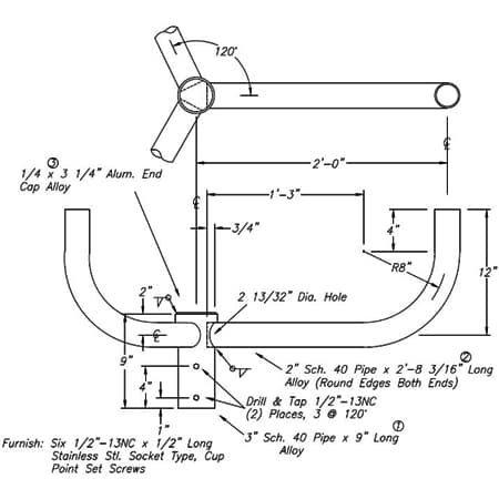 Bullhorn Bracket A10064 Dimensional Drawing