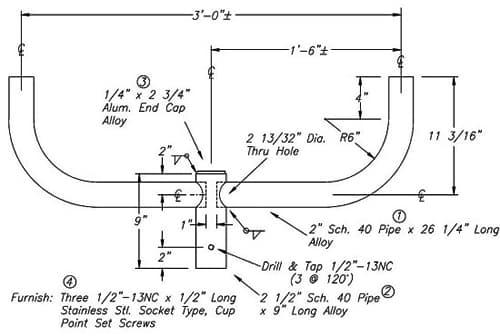 Bullhorn Bracket A10066 Dimensional Drawing
