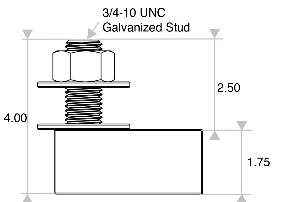 ABA175 Galvanized Stud