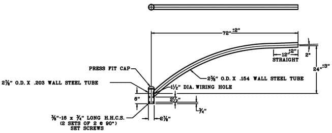 Upsweep Bracket BRU61 Dimensional Drawing