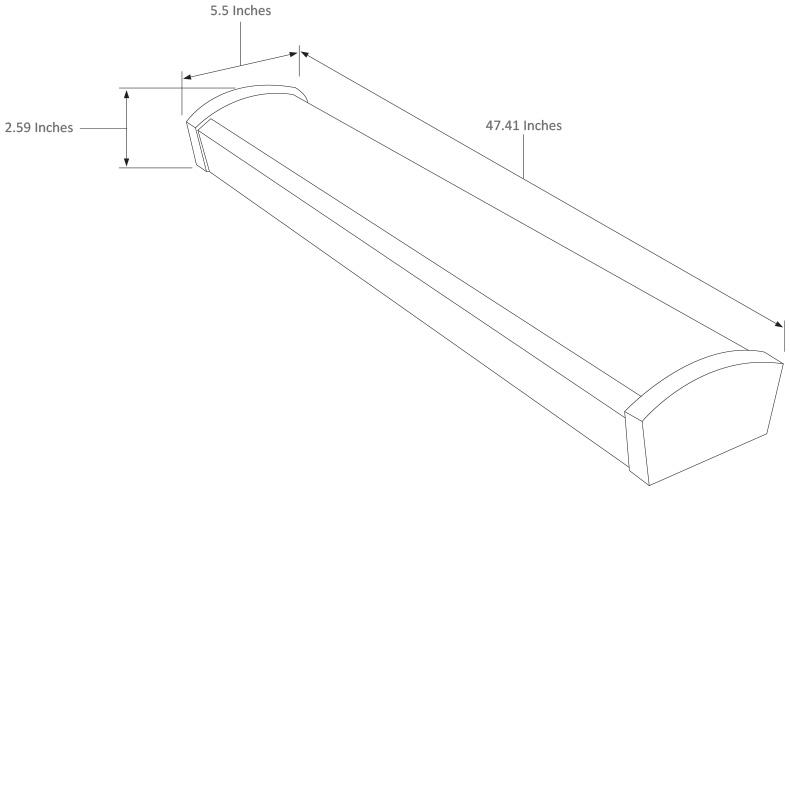 4 Foot Long 40 Watt LED Wraparound Light LEDWA4 Dimensional Drawing
