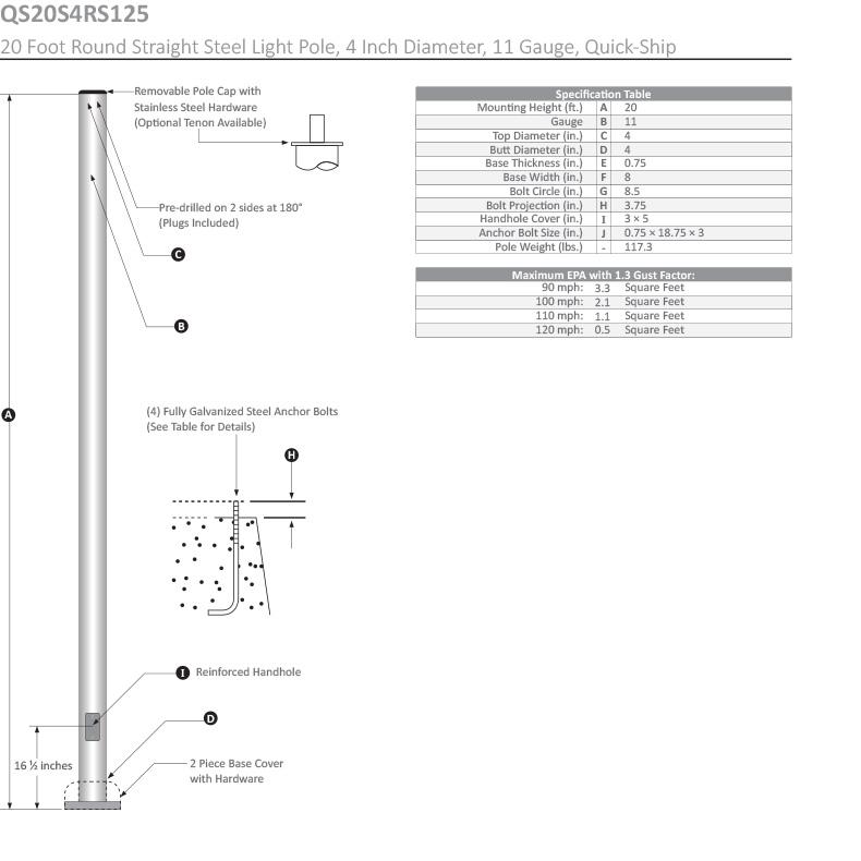 20 Foot Round Straight Steel Light Pole, 4 Inch Diameter, 11 Gauge, Dimensional Drawing