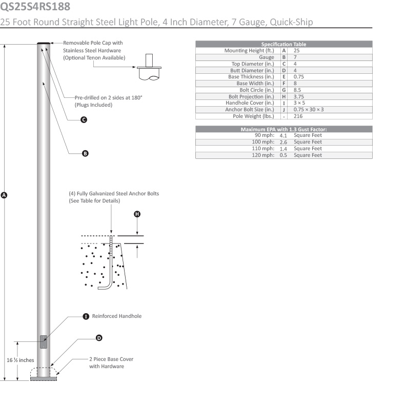 25 Foot Round Straight Light Pole, 4 Inch Diameter, 7 Gauge, Dimensional Drawing
