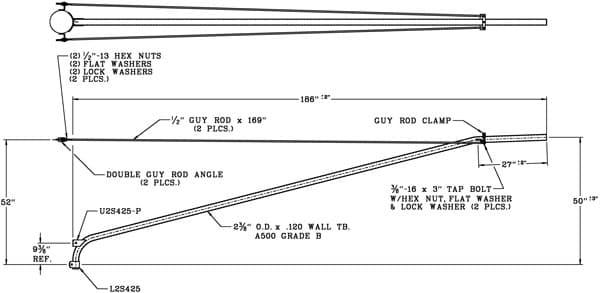 16 Foot Double Tie-Rod Wood Pole Bracket, 2 Inch Diameter Steel Pipe-WPB1061-Dimensional Drawing