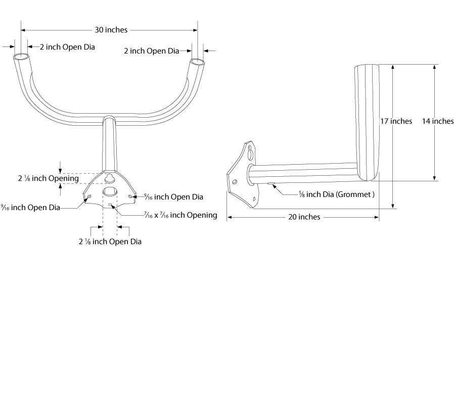 Flood Light Bracket WPB1140 Dimensional Drawing