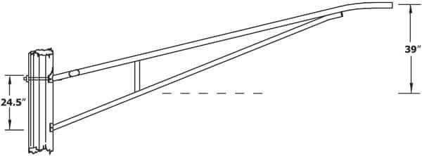 12 Foot Aluminum Truss Bracket, 3.5 Inch Diameter Aluminum Pole-WPB1185-Dimensional Drawing