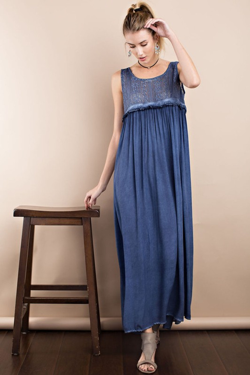 1cf935a1516 SLEEVE LESS OIL WASHED ELEGANT MAXI DRESS - Out Of My Kloset Boutique