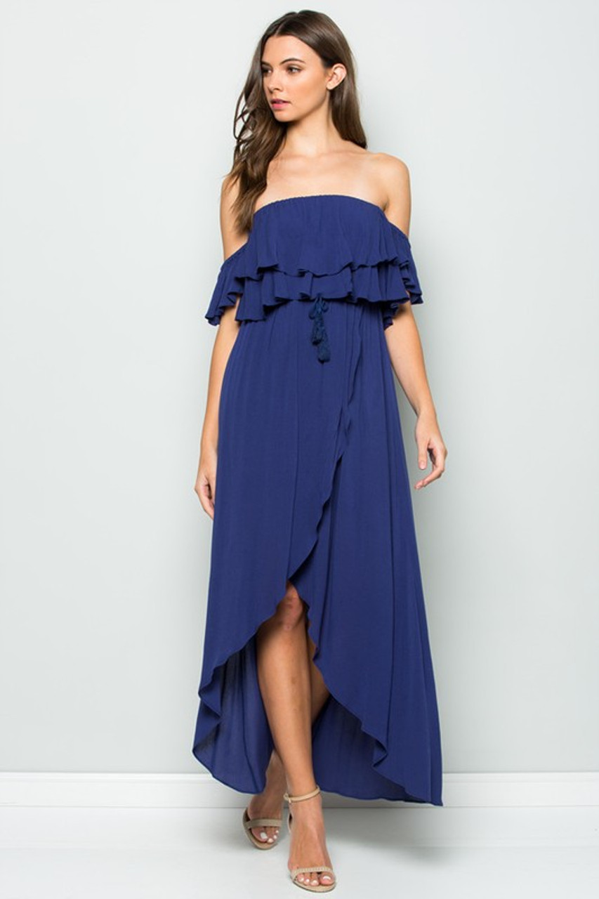 02ec9e45d6d OFF THE SHOULDER RUFFLED MAXI DRESS - Out Of My Kloset Boutique