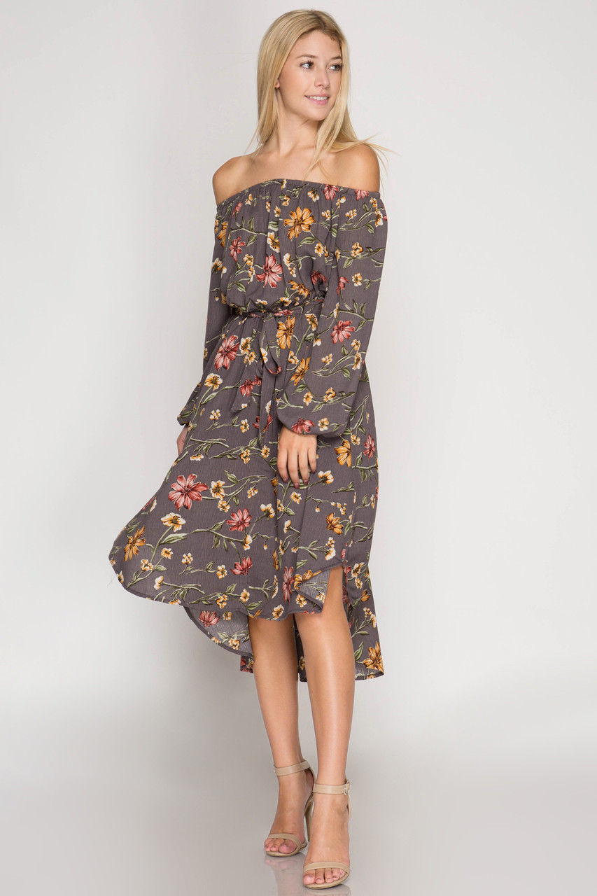 55fc8abbb22 LONG SLEEVE FLORAL PRINT OFF SHOULDER MIDI DRESS - Out Of My Kloset Boutique
