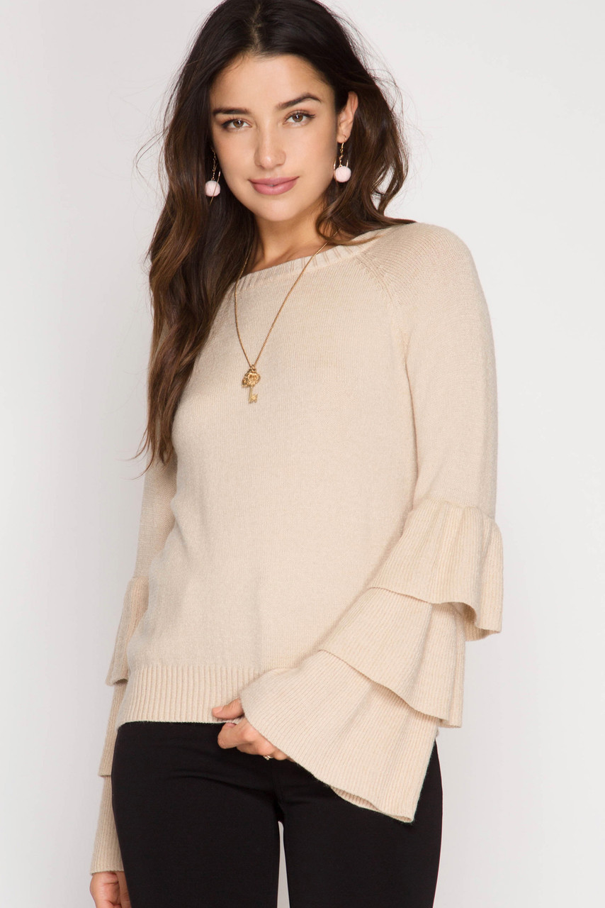 858c998cc256e6 LONG TRIPLE RUFFLED BELL SLEEVE PULLOVER SWEATER - Out Of My Kloset Boutique