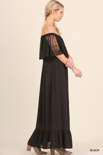 a9f8218a363 OFF THE SHOULDER LACE MAXI DRESS - Out Of My Kloset Boutique