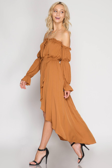 d633f502cc7 CARAMEL LONG SLEEVE OFF SHOULDER MAXI DRESS - Out Of My Kloset Boutique