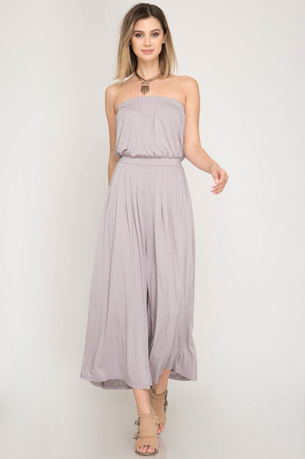 3db7857b7bfd GREY TAMMY TUBE WIDE LEG JUMPSUIT - Out Of My Kloset Boutique
