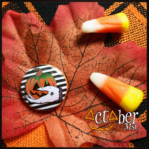Witchy Pumpkin Halloween Badge