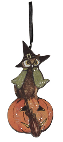 Green Owl and Pumpkin Hanging Decoration from Bethany Lowe Designs