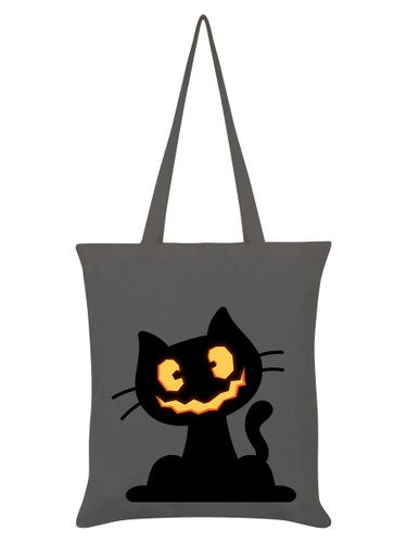 Pumpkin Kitten Grey Tote Bag