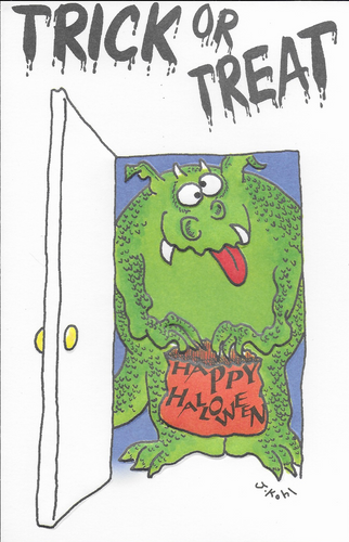 Trick or Treat Monster Halloween Greeting Card