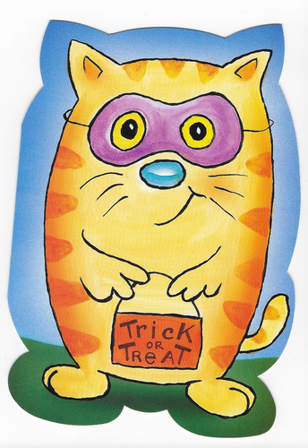Trick or Treat Cat Halloween Greeting Card