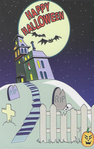 Happy Halloween Haunted House Halloween Greeting Card