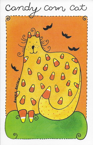 Candy Corn Cat Halloween Greeting Card