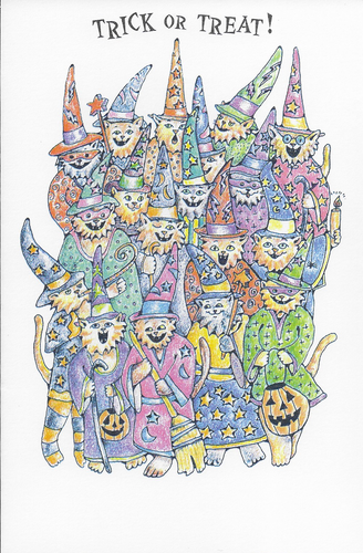 Trick or Treat Witch Cats Halloween Greeting Card