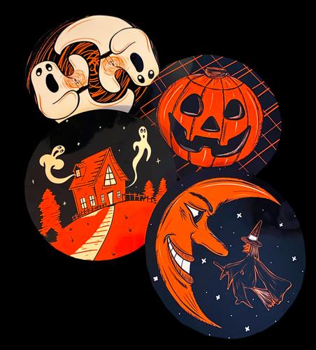 Vintage Halloween Inspired 4 Piece Coaster Set