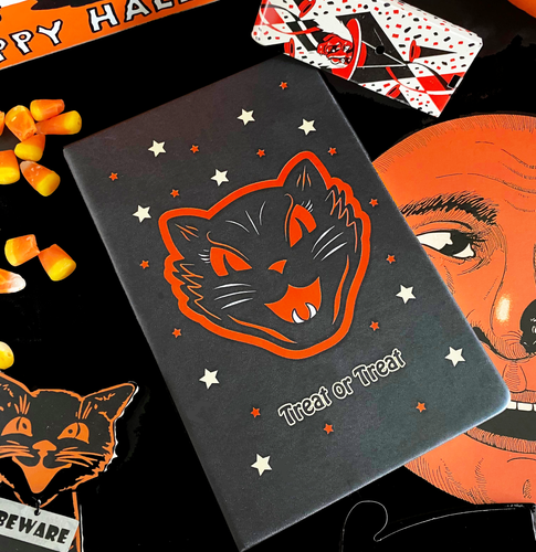 Trick or Treat Black Cat A5 Hard Cover Notebook