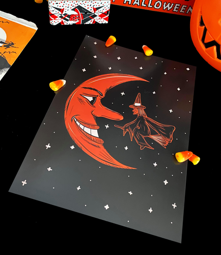 Vintage Style Flying Witch and Grinning Moon A4 Print