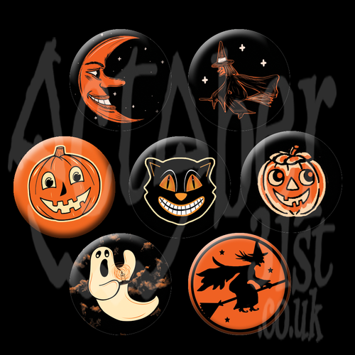 Vintage Inspired Halloween Badges Seven Designs or a Full Set