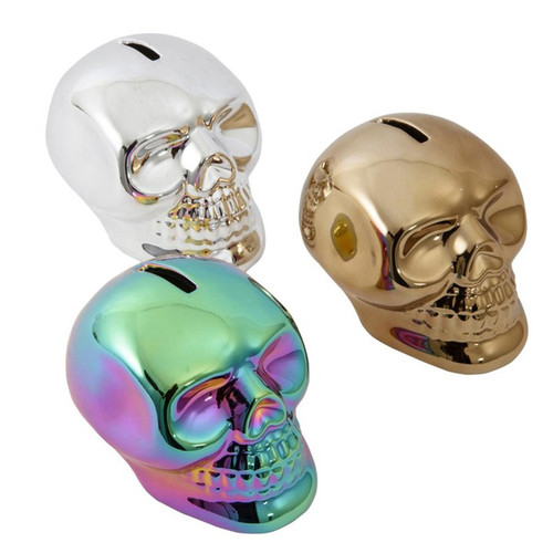 Metallic Skull Money Box Available in 1 of 3 Designs