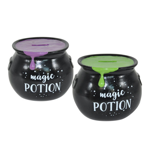 Magic Potion Cauldron Money Box in Green or Purple