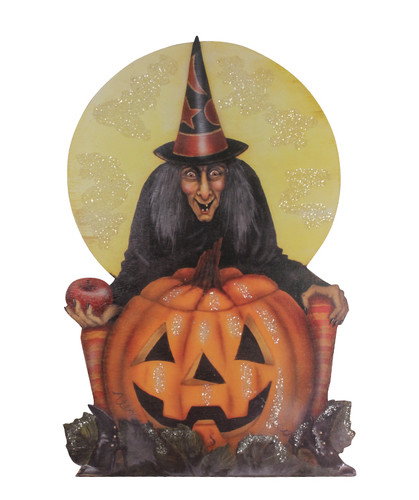 Midnight Witch With Pumpkin Dummy Board from Bethany Lowe Designs