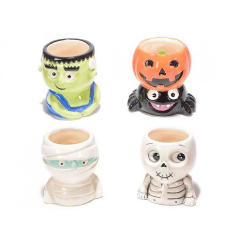 Halloween Ceramic Monster, Mummy, Pumpkin Spider or Skeleton Pot
