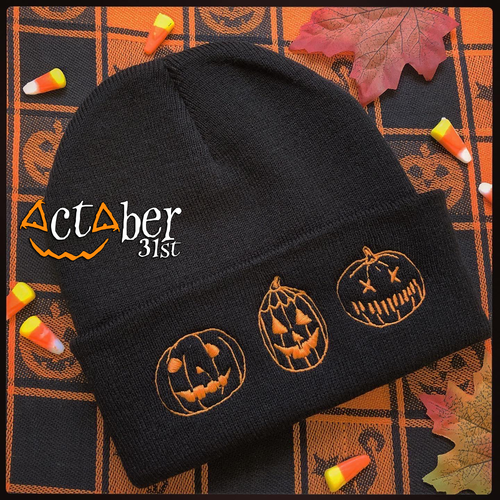 Embroidered Know Your Pumpkins Halloween Beanie