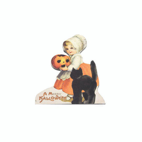 A Merry Halloween Black Cat and Girl Dummy Board Decoration from Bethany Lowe Designs